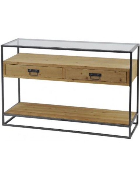 Libra - Kempsey Fir Wood And Iron Console Table - Asco Lights